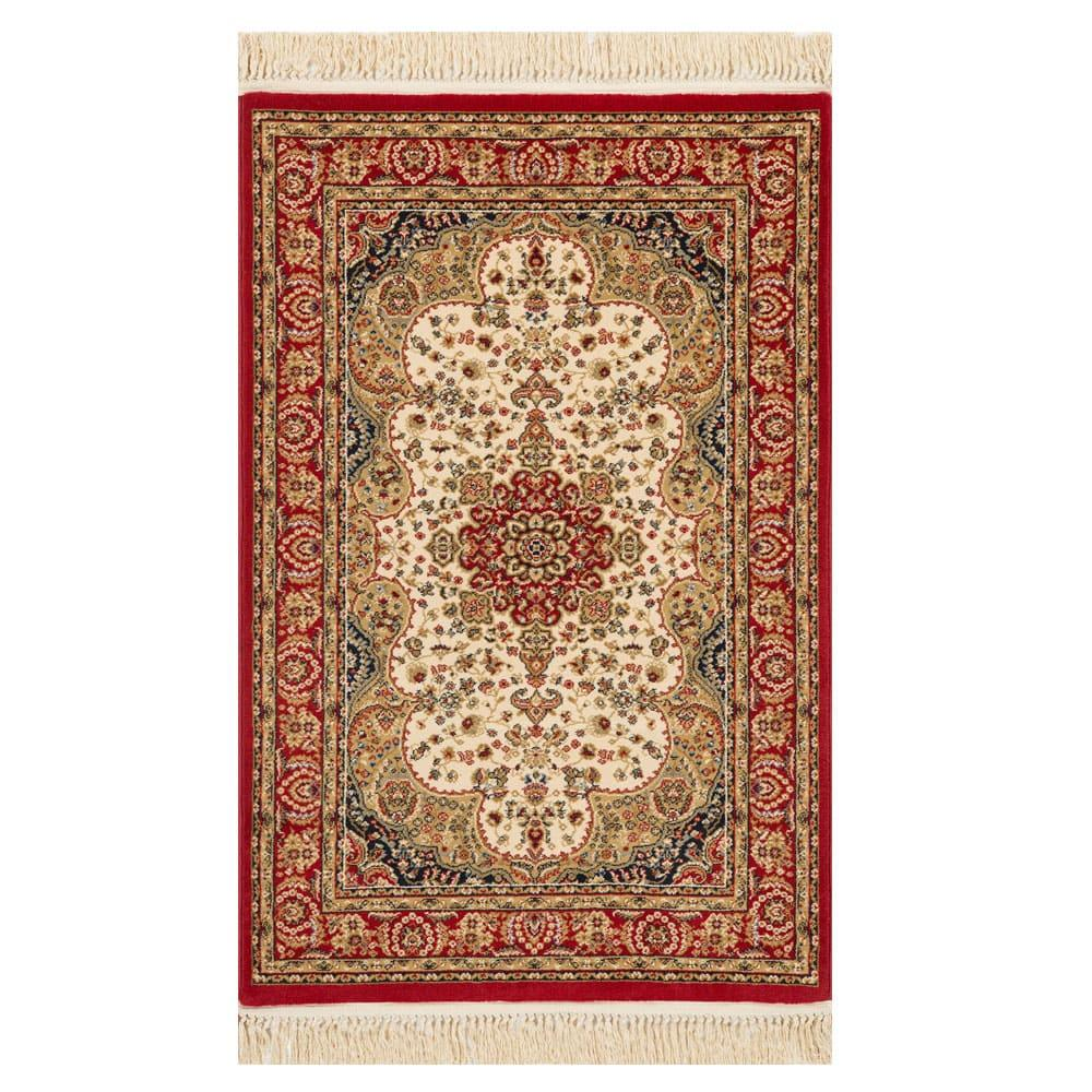 Tapete Persa Bege e Vermelho - 160x235cm