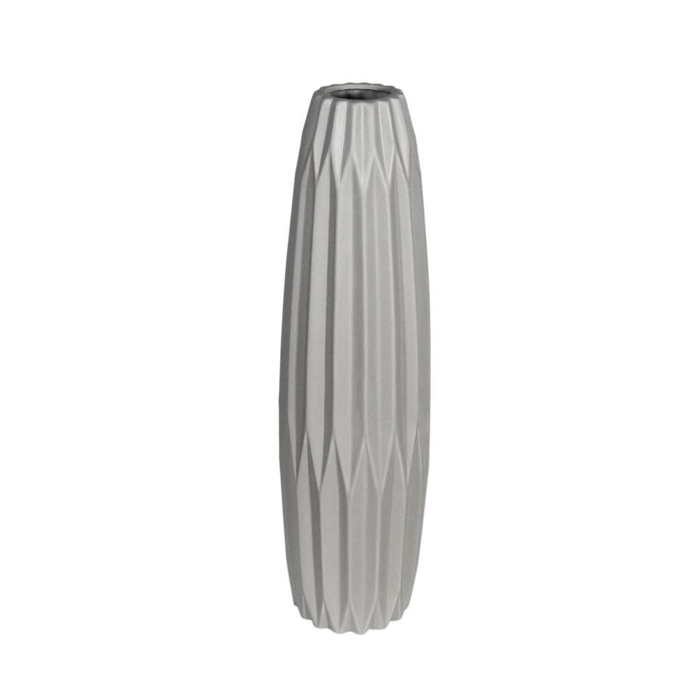 Vaso Decorativo em Cerâmica na Cor Cinza Claro - 59cm