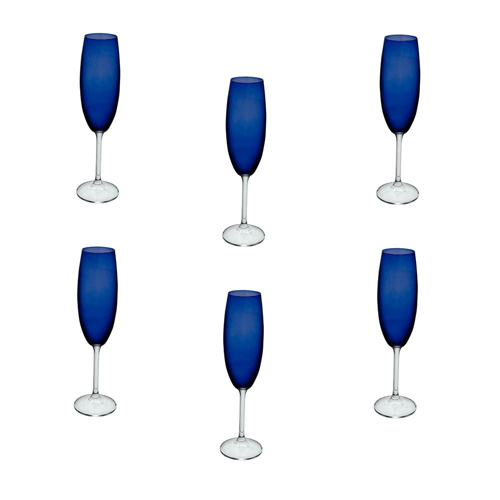 Jogo de Taças Gastro em Cristal Azul para Champanhe - 6 Peças