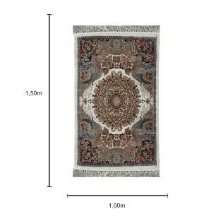 Tapete Persa Bege com Medalhão - 100x150cm