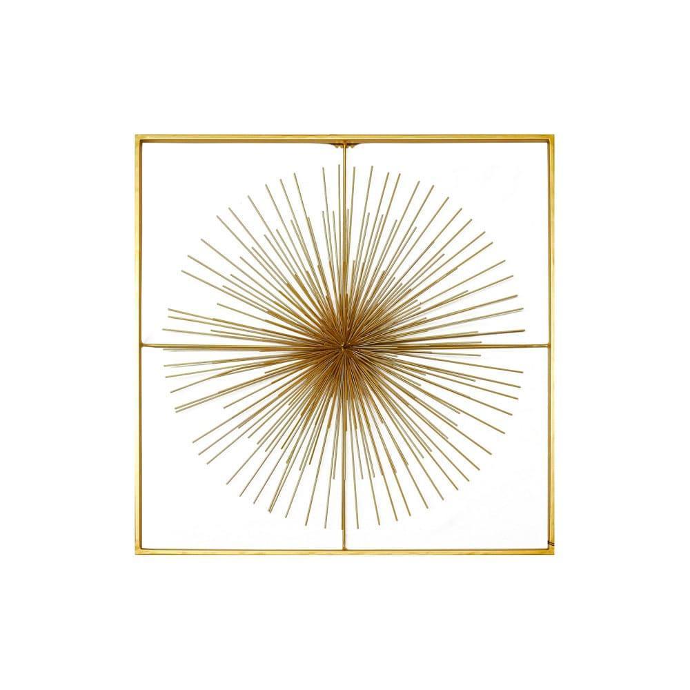 Quadro Decorativo em Metal Dourado - 51x52cm