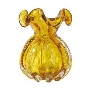 Vaso em Murano Âmbar com Detalhes - 14x17x14cm