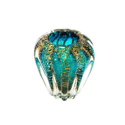 Vaso em Murano Azul com Dourado - 13x13cm