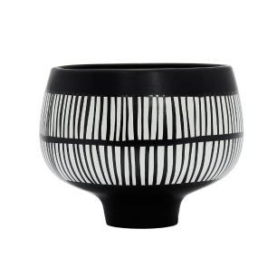 Vaso Decorativo Preto com Detalhes em Branco - 14x18cm