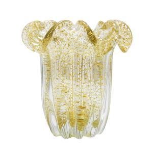 Vaso em Murano Incolor com Detalhes - 15x16x15cm