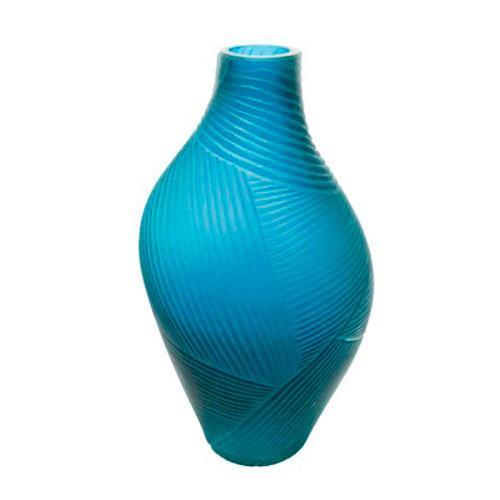 Vaso em Vidro na Cor Azul - 36x17x12cm