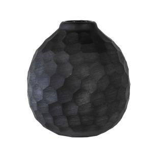 Vaso Decorativo em Vidro na cor Preta - 16x12x12cm