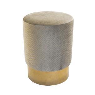 Puff com Estofado em Veludo Bege - 47x45 cm
