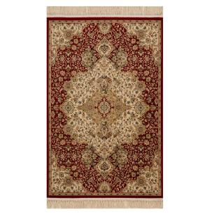 Tapete Persa Vermelho com Detalhes Bege - 160x235cm