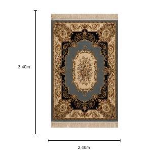 Tapete Persa Bege com Detalhes em Azul - 240x340cm