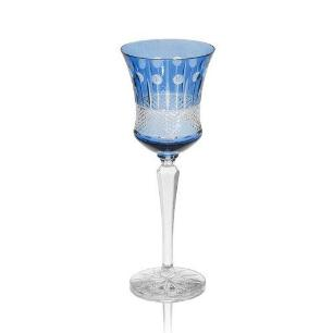 Taça de Cristal Polonês Azul Claro Oceano para Vinho - 220ml