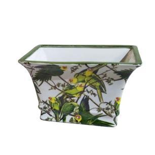 Vaso Decorativo em Cerâmica com Desenhos de Papagaios - 17x26x18cm