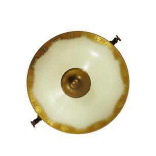 Potiche em Cristal Branco e Dourado - 41x27x18cm