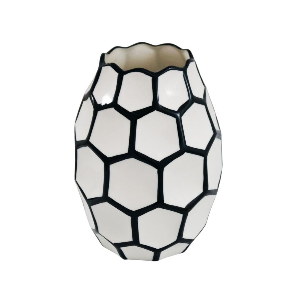 Vaso Decorativo em Cerâmica Preto e Branco - 22x16x16cm