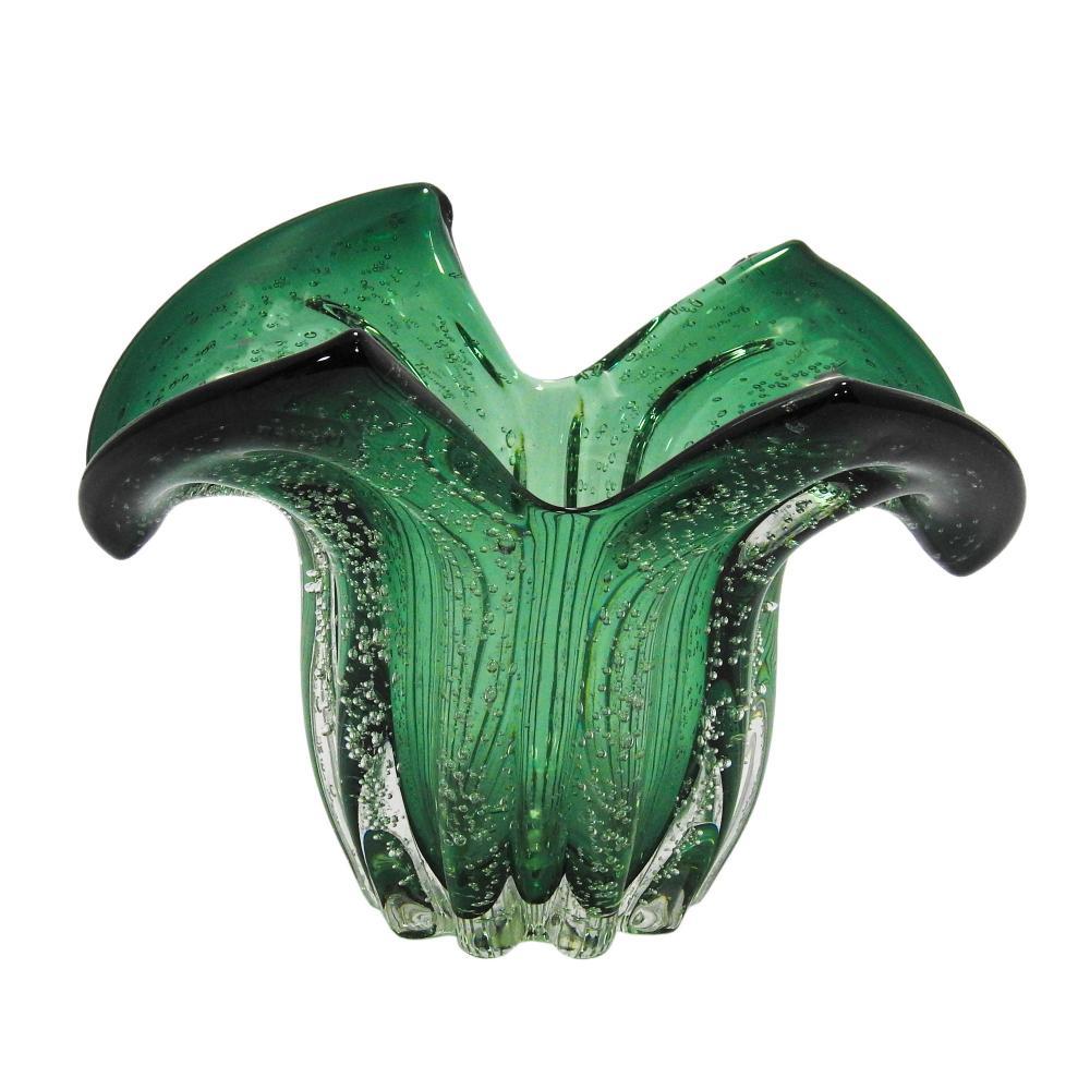 Vaso em Murano Verde com Detalhes - 23x15x15cm
