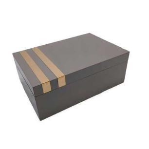 Caixa Decorativa Cinza com Dourado - 12x30x20cm
