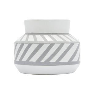 Vaso Decorativo Branco e Cinza em Cerâmica - 15x19cm