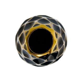 Vaso Decorativo Preto com Detalhes em Dourado - 48x17x17cm