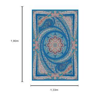 Tapete Persa com Franja Azul Medalhão Floral - 133x190cm