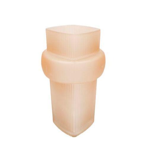 Vaso em Vidro na Cor Bege - 26,5x15x15cm