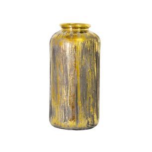Vaso Rústico em Cerâmica com Detalhes em Dourado - 28x13x13cm