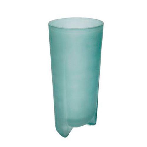 Vaso Decorativo em Vidro na Cor Azul Claro - 29,5x12cm