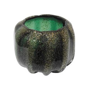 Vaso em Murano Verde com Detalhes Dourado - 18x15x18cm