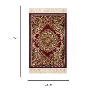 Tapete Persa Qom Vinho com Detalhes Bege - 67X90cm