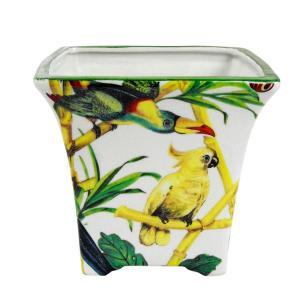 Cachepot em Cerâmica Branco com Pássaros - 18x19cm