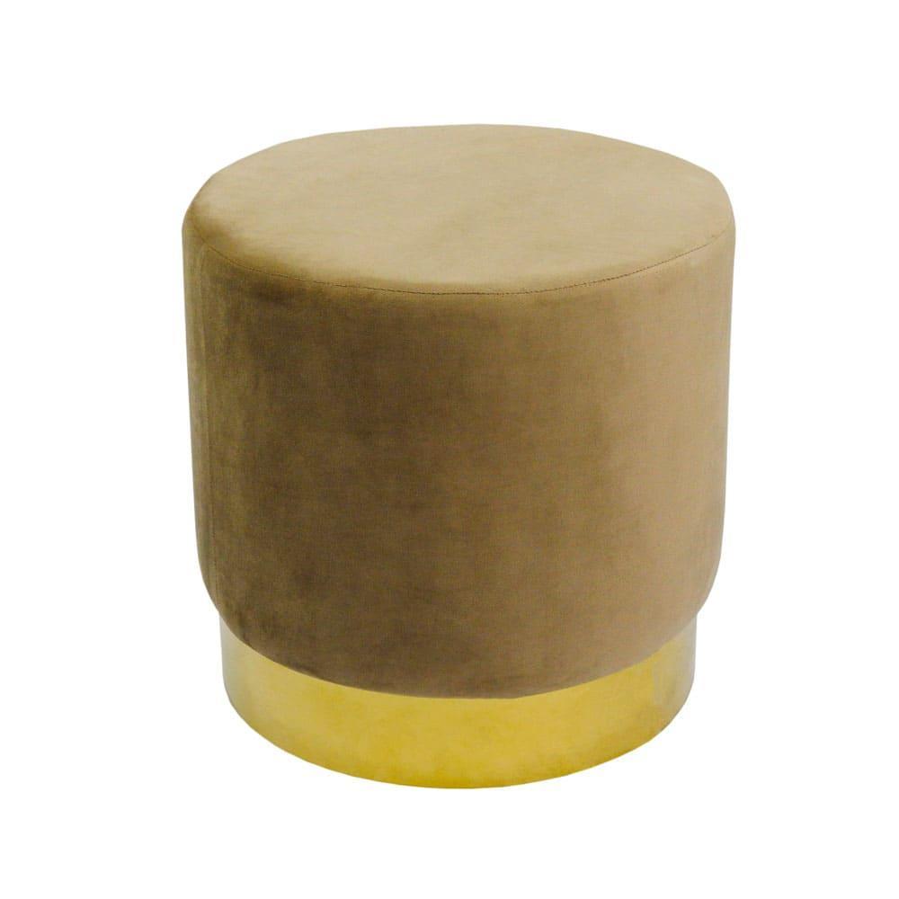 Puff com Base em Metal Dourado e Estofado em Veludo na Cor Marrom - 45x46cm