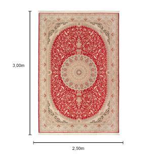 Tapete Iraniano Beluchi Vermelho com Detalhes Dourado - 300x250cm