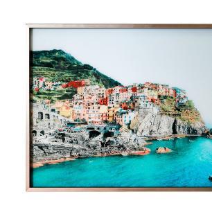 Quadro Decorativo em Vidro com Paisagem da Grecia - 80x120cm