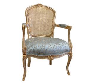 Poltrona Clássica Luis XV Azul Folheada a Ouro