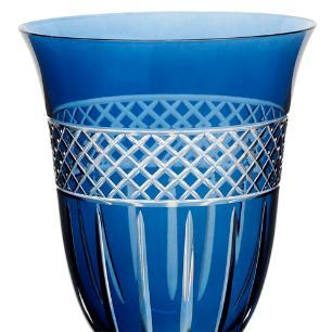 Taça para Água Angela Lapidada em Cristal cor Azul - 350ml A22cm