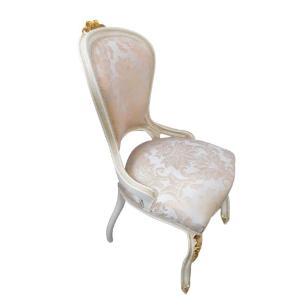 Cadeira de Jantar Estofado Bege Jacquard - 105x55x60cm