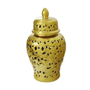 Potiche em Cerâmica Dourado