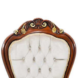 Cadeira em Madeira com Detalhes em Dourado e Estofado Bege - 56x115x60