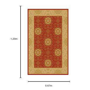 Tapete Persa com Franja Vermelho e Bege - 67x120cm