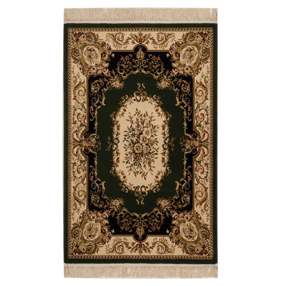 Tapete Persa Verde com Detalhes em Bege - 57x90cm