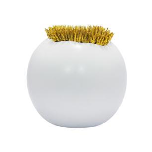 Vaso Decorativo Redondo Branco com Detalhes Dourado  - 26x27cm