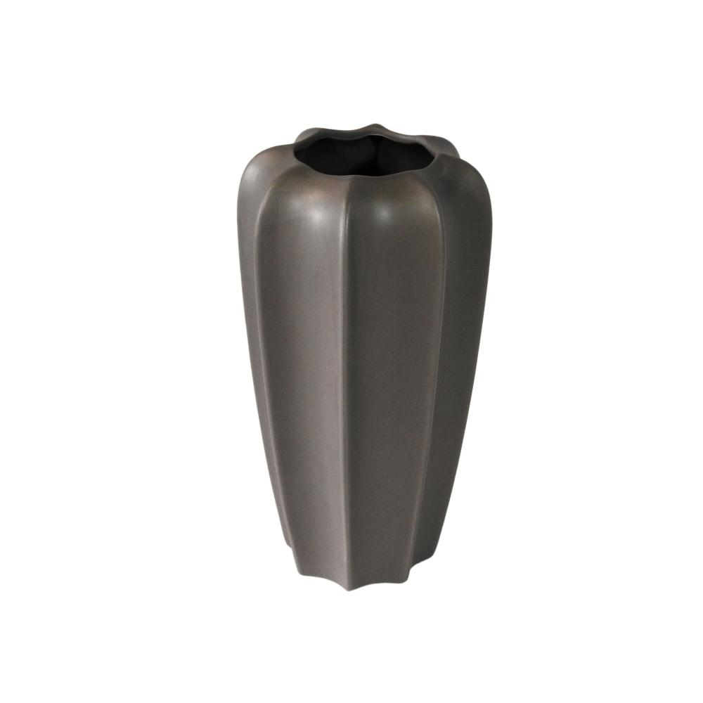 Vaso Decorativo em Cerâmica na Cor Cinza Escuro - 28cm