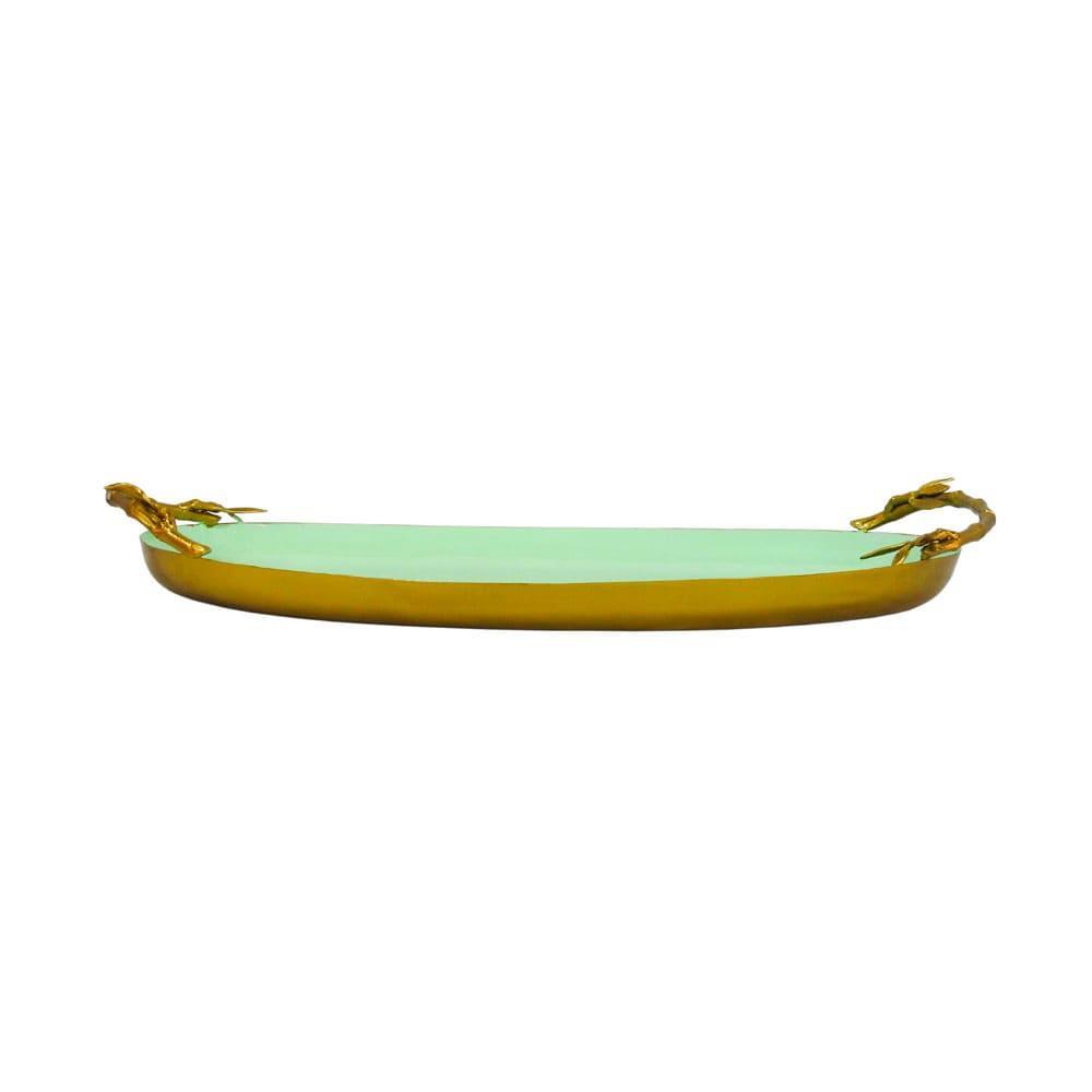 Bandeja Dourada e Verde em Metal - 7x47x26cm
