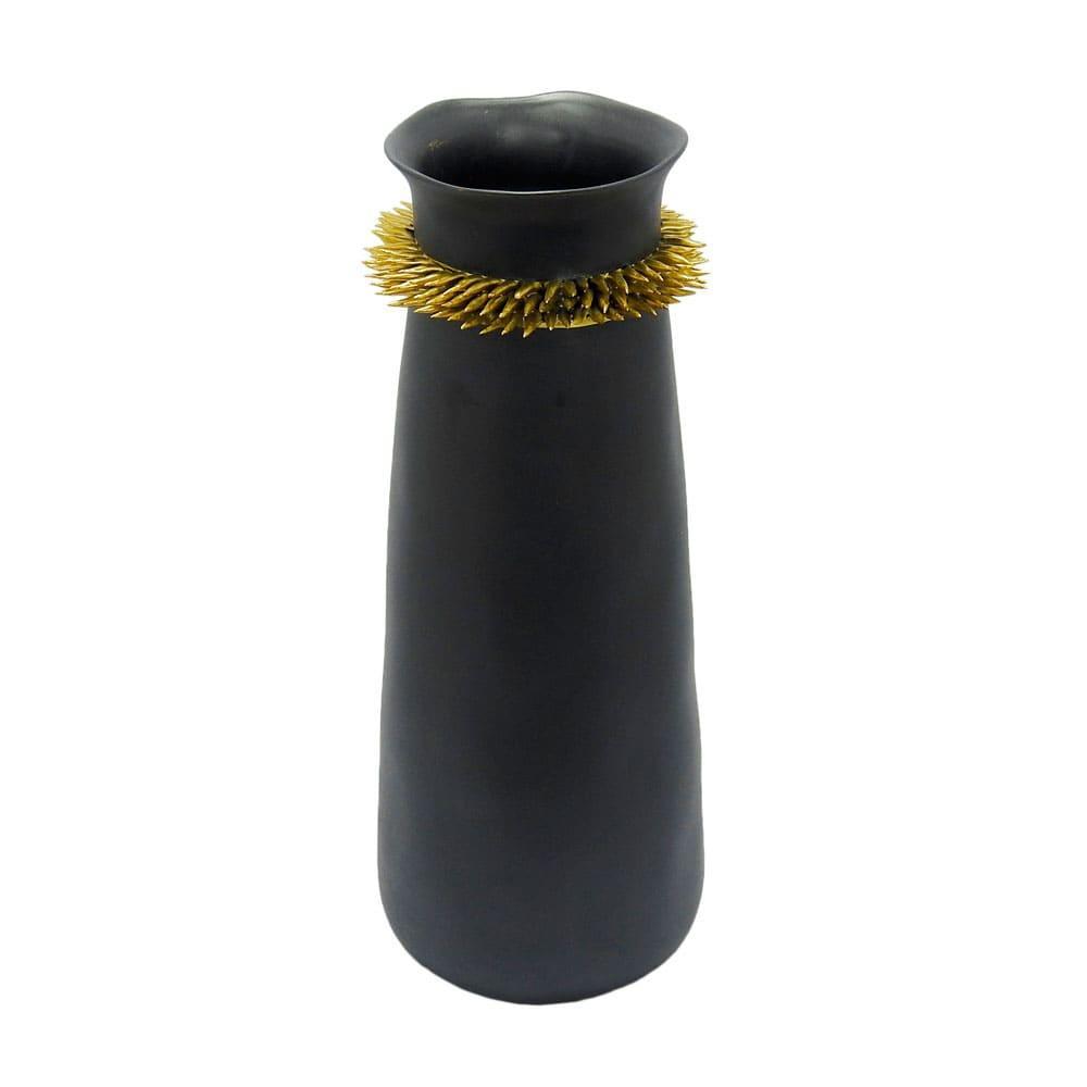 Vaso Decorativo em Cerâmica Cinza Chumbo - 40x15cm