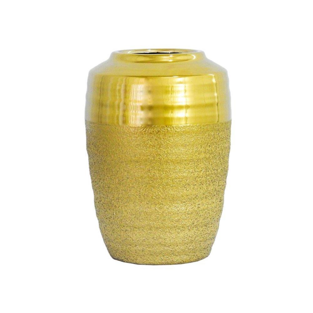 Vaso Rústico Decorativo em Cerâmica Dourada 28x18cm