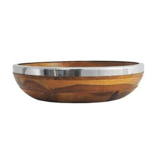 Bowl em Madeira com Borda em Inox - 8x30cm