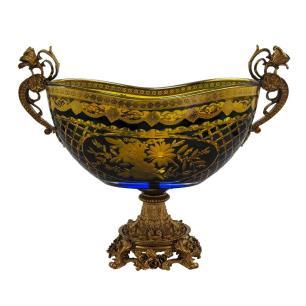 Centro de Mesa em Cristal Azul e Dourado com Detalhes em Bronze - 24x39x17cm