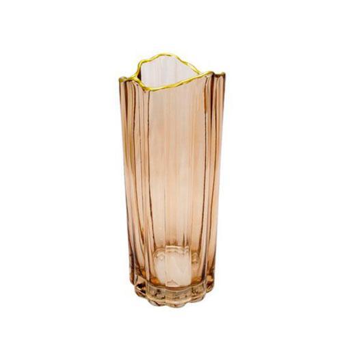 Vaso em Vidro na Cor Marrom Translucido - 30x12cm