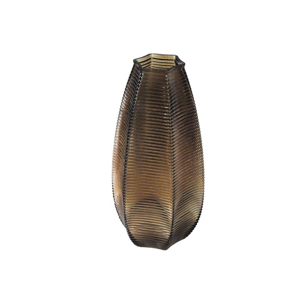 Vaso Decorativo em Vidro na Cor Marrom - 26x11cm