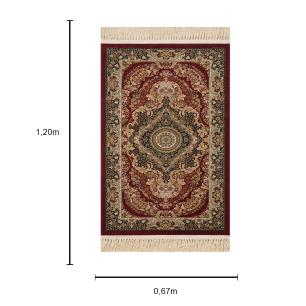 Tapete Persa Isfahan Vinho com Detalhes Bege - 67X120cm