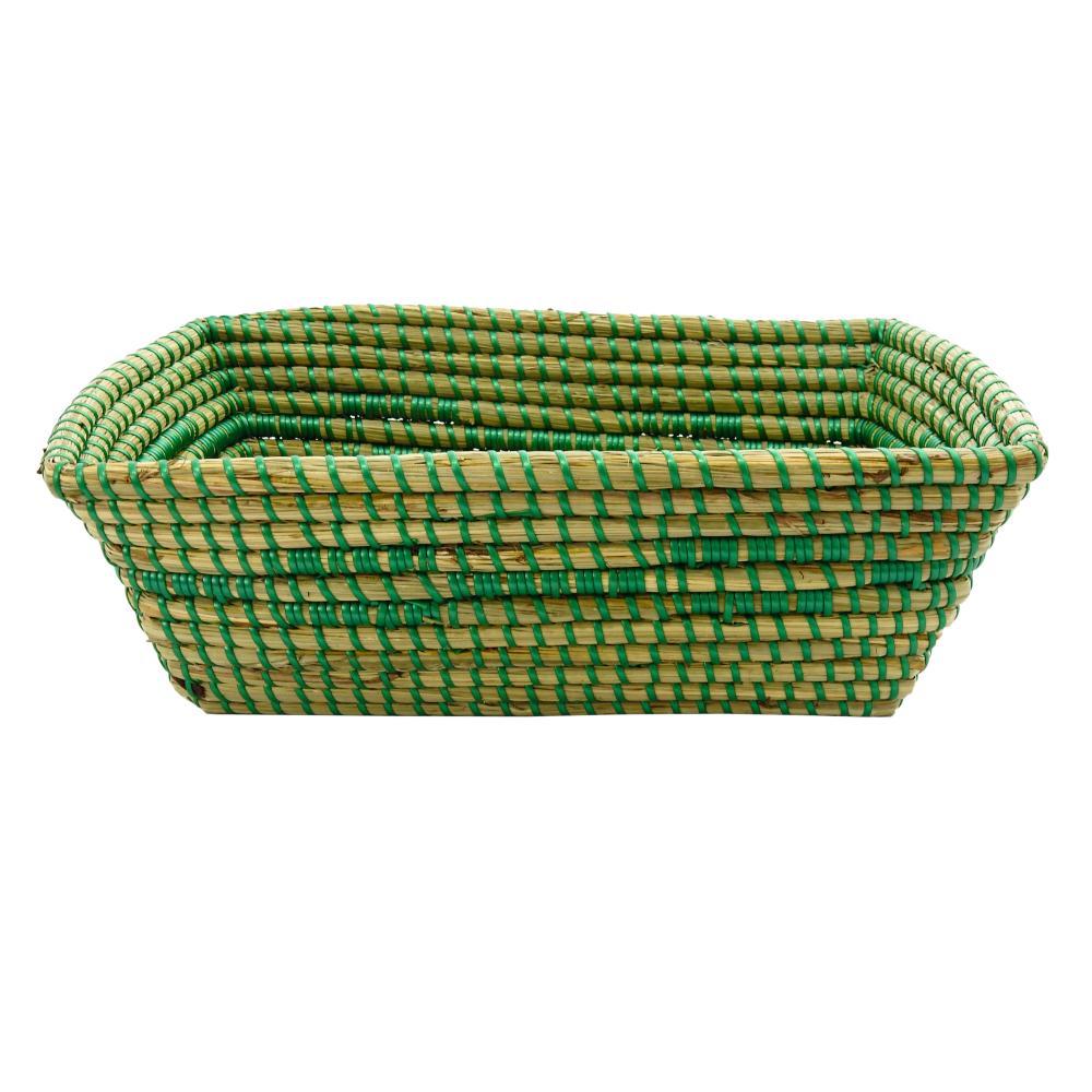 Cesto Grande em Rattan com Detalhes Verde 14 cm x 40 cm x 26 cm